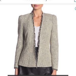 Rebecca Taylor Tweed Fringe Ivory & Black Jacket